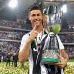 Cristiano Ronaldo with the trophy of Supercopa Italiana, January 2019