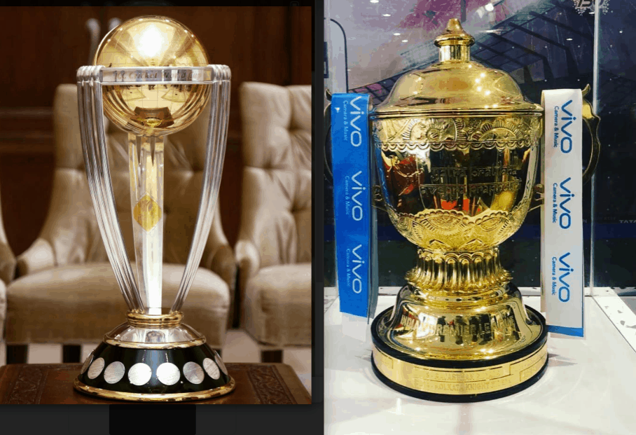 IPL 2019 and CWC 2019 trophies